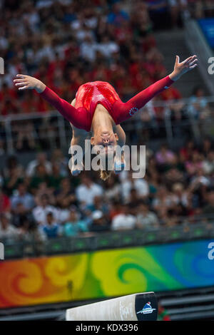 Shawn Johnson (USA) Women's Individual All Around Gymnastics silver medalist competing on the balance beam at the - Stock Photo