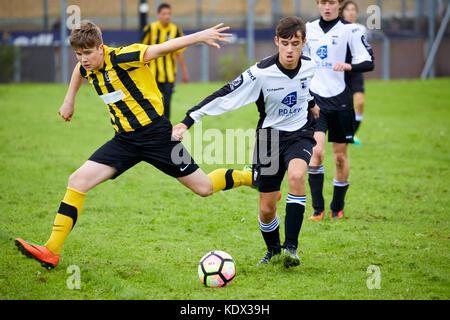 Highfield Grange FC under 15s sporting their new David Wilson Homes sponsored kit.  JRW Group rebrand to Ripe. - Stock Photo