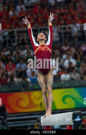Yilin Yang (CHN) Women's Individual All Around Gymnastics bronze medalist competing on the balance beam at the 2008 - Stock Photo