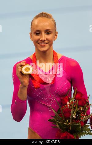 Nastia Liukin (USA) Women's Individual All Around Gymnastics gold medalist at the 2008 Olympic Summer Games, Beijing, - Stock Photo