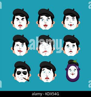 Mime face set. sleeping and evil emotion avatar. bewildered and sad pantomime emoji. mimic fear and happy icon. - Stock Photo