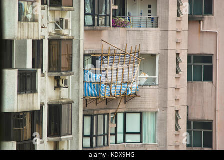 bamboo scaffoldings in Hong Kong - Stock Photo