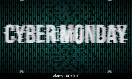 Cyber Monday Glitch effect label - Stock Photo