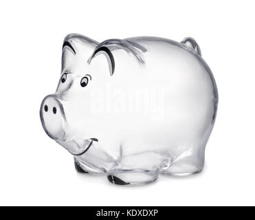 Transparent piggy bank isolated on white - Stock Photo