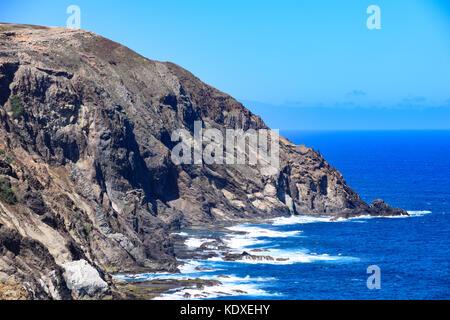 Coastal features of Fonte da Areia, Porto Santo, Madeira - Stock Photo
