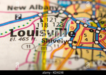 Closeup Of Louisville Kentucky On A Road Map Of The United States Stock