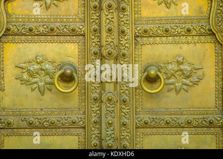 Jaipur, India - September 19, 2017: Golden door in City Palace. Jaipur, India - Stock Photo