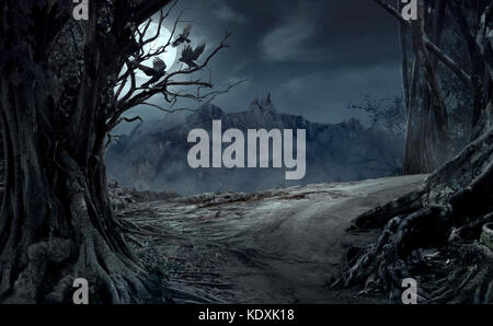 Dead cliff road on the dead mysterious forest with three crows on the night. Scary Halloween concept. - Stock Photo