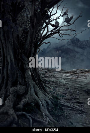 Scary dead tree, night in the mysterious forest with moon light and three crows - Stock Photo
