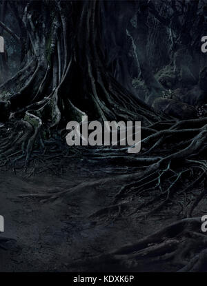creepy trees with twisted roots and two lizard on misty night forest. Scary concept. - Stock Photo
