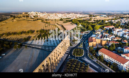 Amoreira Aqueduct, Elvas, Alentejo, Portugal - Stock Photo