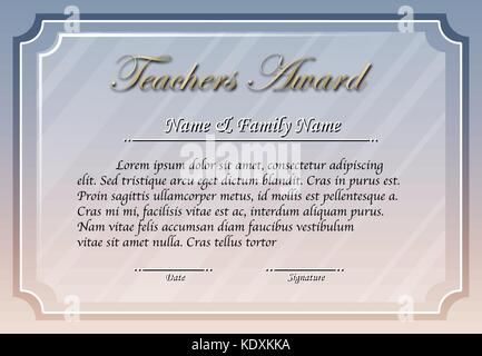 Teacher award template in gray color illustration - Stock Photo