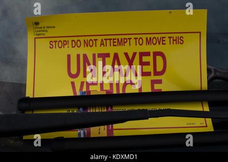 Untaxed car sign - Stock Photo