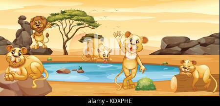 Lions drinking water from the pond illustration - Stock Photo