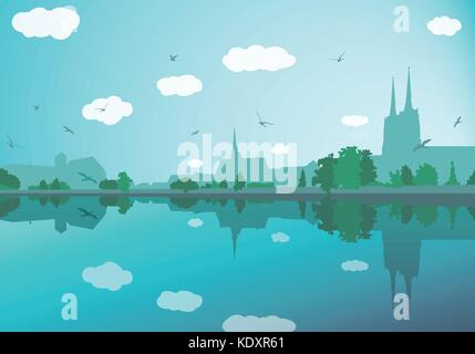 Landscape with old city buildings, river, trees, sky and birds - Stock Photo