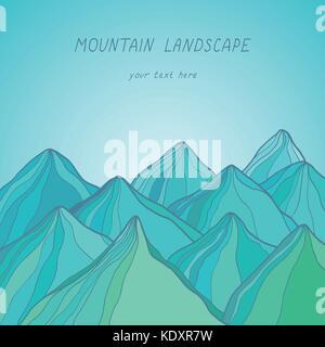Mountain landscape, vector illustration - Stock Photo