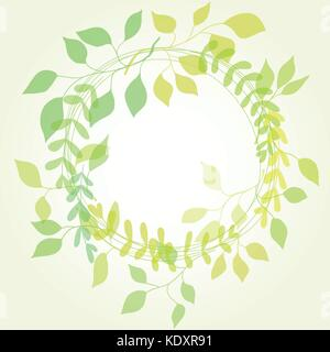 round floral frame with green leaves - Stock Photo