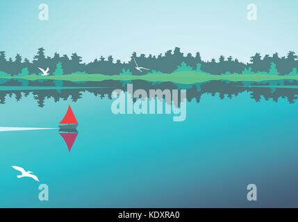 Vector landscape with lake, forest and boat - Stock Photo