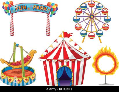 Circus set with rides and tent illustration - Stock Photo