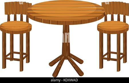 Wooden Table · Round Wooden Table And Chairs Illustration   Stock Photo