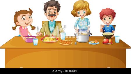 Dinner Together Family Members Having At The Table Illustration