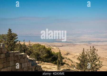 Mount Nebo religious site, Jordan, the desert valley towards Israel and Dead Sea in the distance, as seen by Moses - Stock Photo