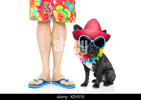 07f18b65ed8f4b ... isolated on white background · french bulldog dog and owner ready to go  on summer holidays vacation with luggage and bags