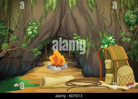 Campfire in the woods illustration - Stock Photo