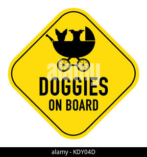 Dogs silhouette illustration inside baby stroller on yellow placard sign,showing the words doggies on board, isolated - Stock Photo