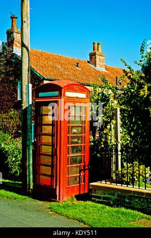 Telephone Booth, Upper Poppleton, North Yorkshire - Stock Photo