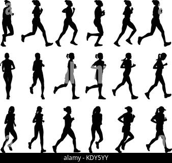 18 high quality female marathon runners silhouettes - vector - Stock Photo
