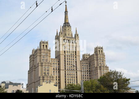 Kudrinskaya Square Building is one of seven Stalinist skyscrapers, designed by Mikhail Posokhin and Ashot Mndoyants. - Stock Photo