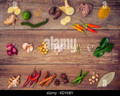 Various of Thai food Cooking ingredients and spice red curry paste ingredient of thai popular food on rustic wooden - Stock Photo