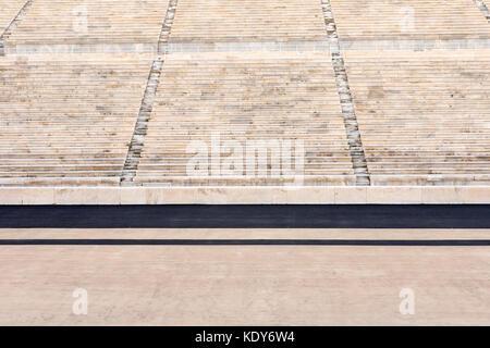 marble stairs of panathenaic stadium - Stock Photo