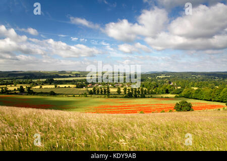 A view of the Wylye Valley east of Warminster in Wiltshire, taken from Scratchbury Hill. - Stock Photo