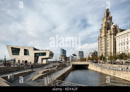 Pier Head, Liverpool, UK. The Ferry Terminal and the Royal Liver Building - Stock Photo