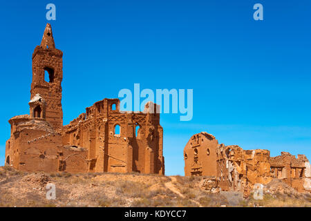 a view of the remains of the old town of Belchite, Spain, destroyed during the Spanish Civil War and abandoned from - Stock Photo
