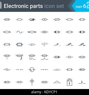 complete vector set of electric and electronic circuit diagram symbols  and elements - fuses and electrical