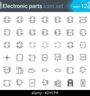 complete vector set of electric and electronic circuit diagram symbols  and elements - digital electronics,