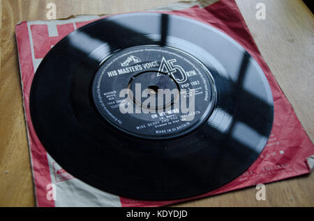 On My Mind by Mike Berry and The Innocents on an original 45rpm vinyl record from the 1960s - Stock Photo