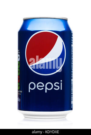 LONDON, UK - JUNE 9, 2017: Aluminium can of Pepsi Cola soft drink on white.American multinational food and beverage - Stock Photo