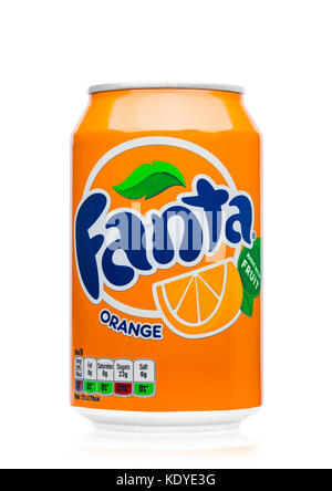 LONDON, UK - JUNE 9, 2017: Aluminum can of Fanta orange soda drink on white background.produced by the Coca-Cola - Stock Photo