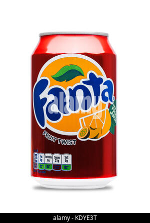 LONDON, UK - JUNE 9, 2017: Aluminum can of Fanta fruit twist soda drink on white background.produced by the Coca - Stock Photo