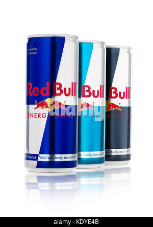 LONDON, UK - APRIL 12, 2017: Can of Red Bull Energy Drink Sugar Free and Zero Calories on white background with - Stock Photo