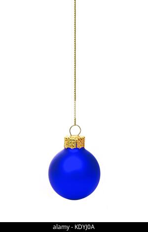 Single hanging blue Christmas ornament isolated on white - Stock Photo
