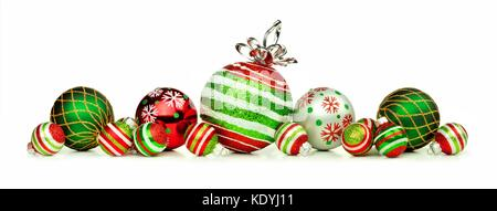 christmas decoration on abstract background christmas border of red green and white ornaments isolated on a white background stock