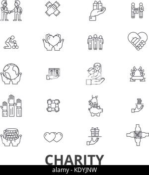 Charity, donation, volunteer, fundraising, philanthropy, helping hands line icons. Editable strokes. Flat design - Stock Photo