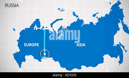 The division of Europe and Asia on the map. the city Ekaterinburg divides Europe and Asia. Eurasia on the map Animation. - Stock Photo