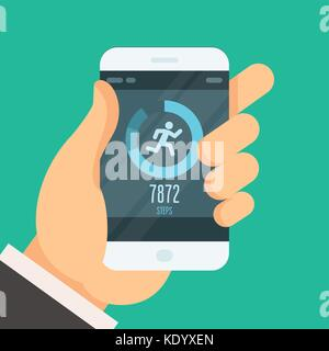 Smartphone fitness tracker app  - lose weight - Stock Photo