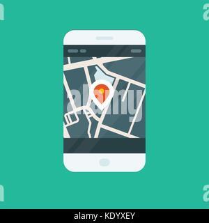 City navigation smartphone app - location on map - Stock Photo
